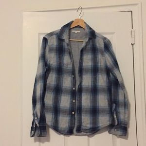 Blue and Gray Plaid Button Down